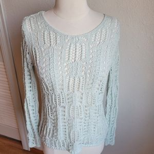 S. Oliver Mint Green Open Knit Sweater